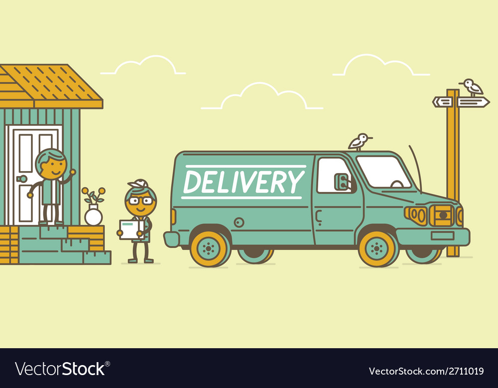 Delivery van and delivery man vector   Price: 1 Credit (USD $1)