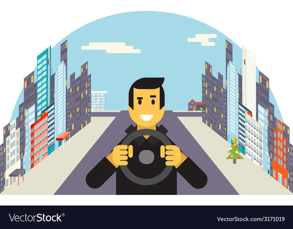 Driver with car wheel ride driving city flat vector | Price: 1 Credit (USD $1)