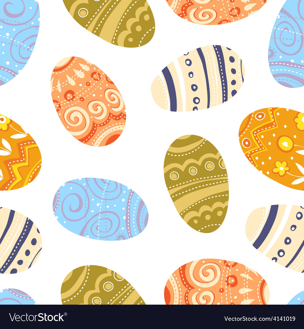 Easter eggs seamless pattern white background vector | Price: 1 Credit (USD $1)