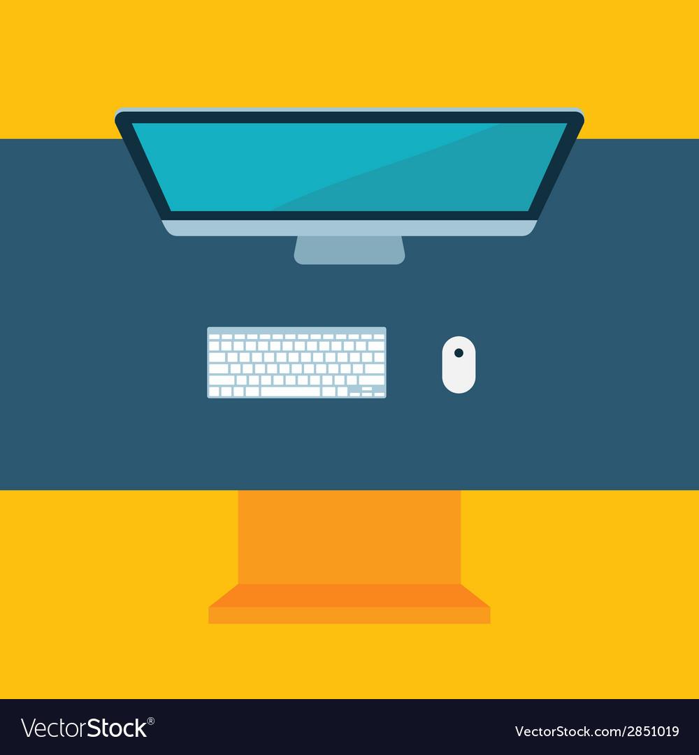 Flat desktop design workspace with computer mose vector | Price: 1 Credit (USD $1)