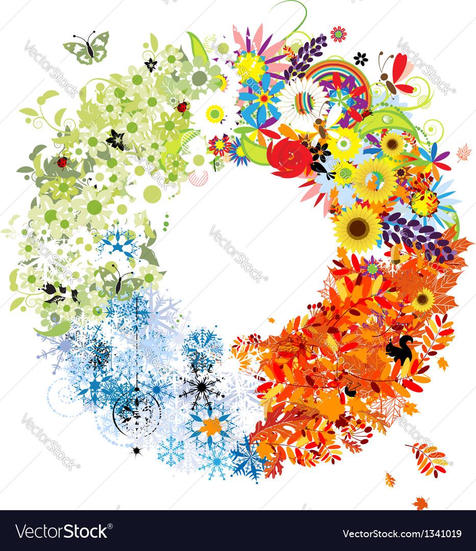 Four seasons frame - spring summer autumn winter vector   Price: 1 Credit (USD $1)