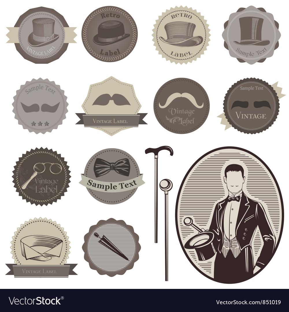 Gentlemens accessories labels vector | Price: 1 Credit (USD $1)