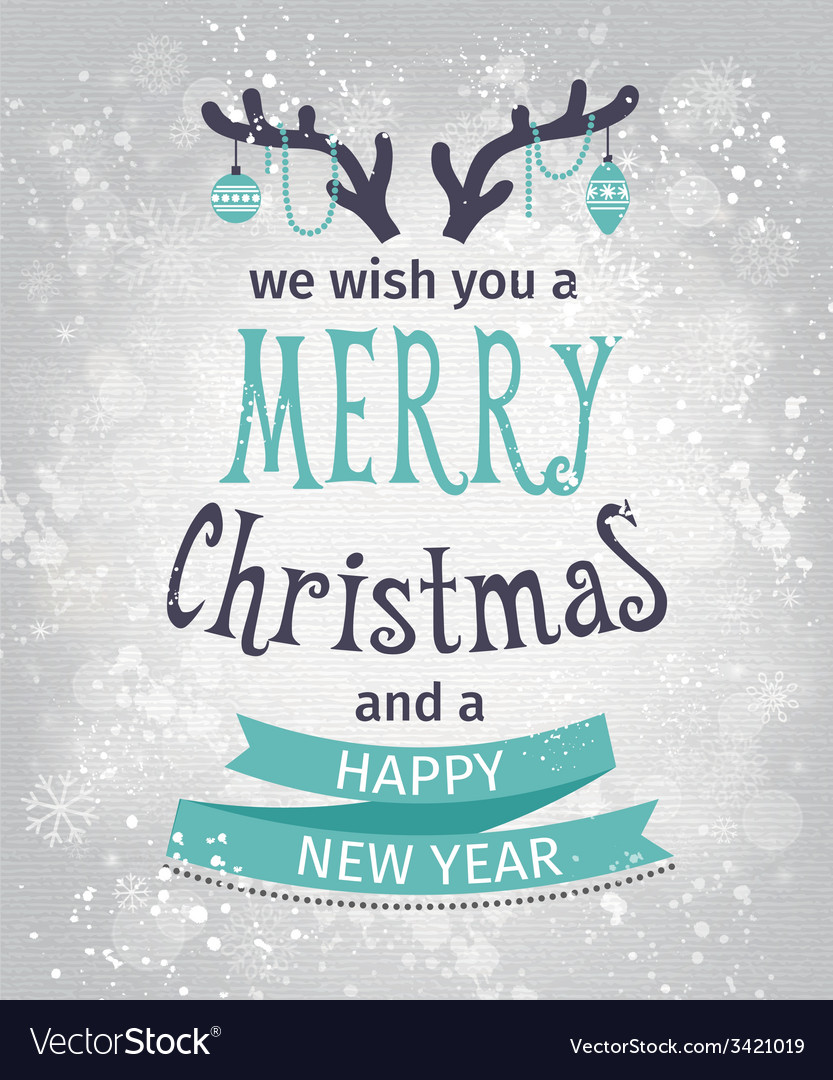 Greeting card merry christmas lettering vector | Price: 1 Credit (USD $1)