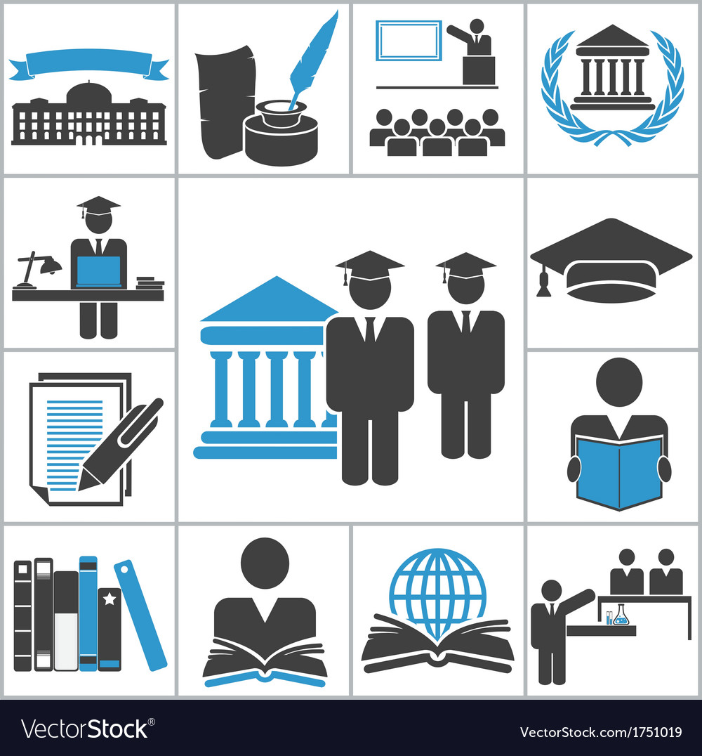 High education icons vector | Price: 1 Credit (USD $1)