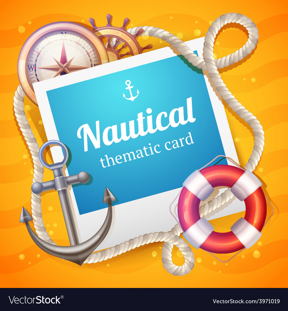 Marine card template vector | Price: 1 Credit (USD $1)