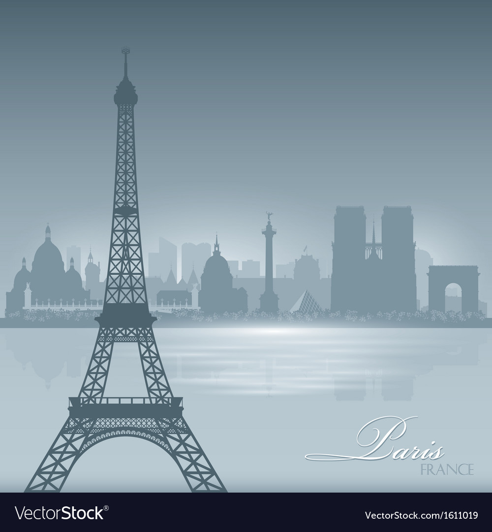 Paris france skyline city silhouette background vector | Price: 1 Credit (USD $1)