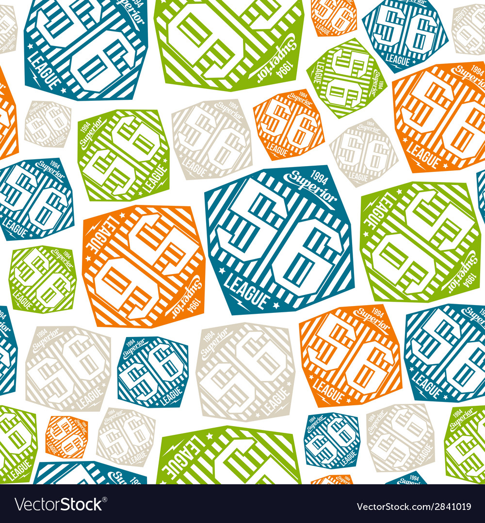 Seamless pattern sport league emblem color vector | Price: 1 Credit (USD $1)