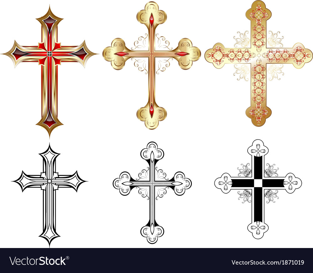 Three gold cross vector | Price: 1 Credit (USD $1)