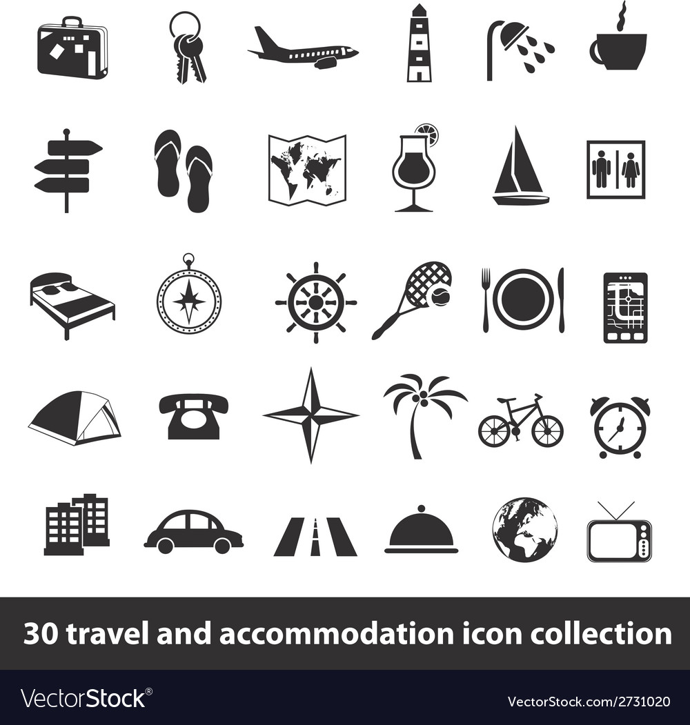 30 travel and accomodation icon collection vector | Price: 1 Credit (USD $1)