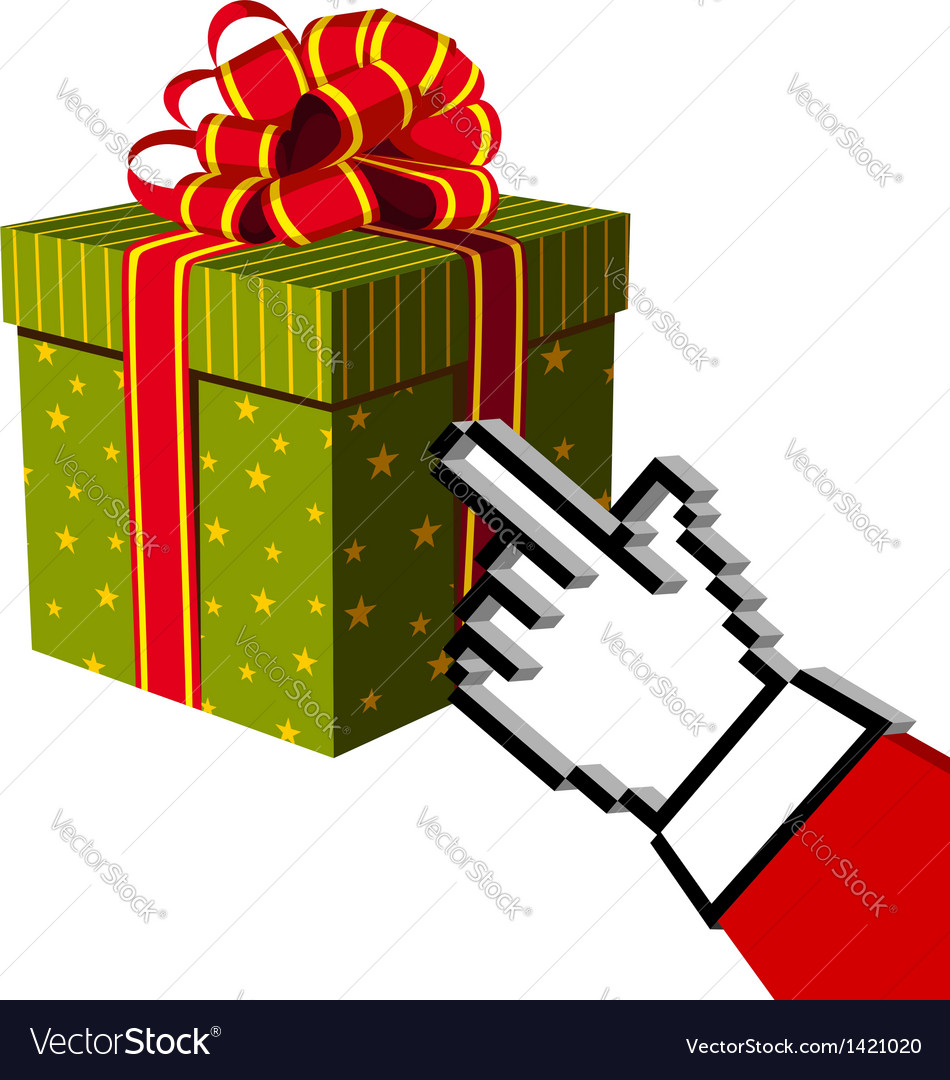 Christmas gift and santa buying online vector | Price: 1 Credit (USD $1)