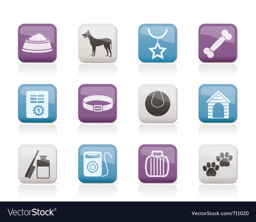 Dog accessory and symbols icons vector | Price: 1 Credit (USD $1)