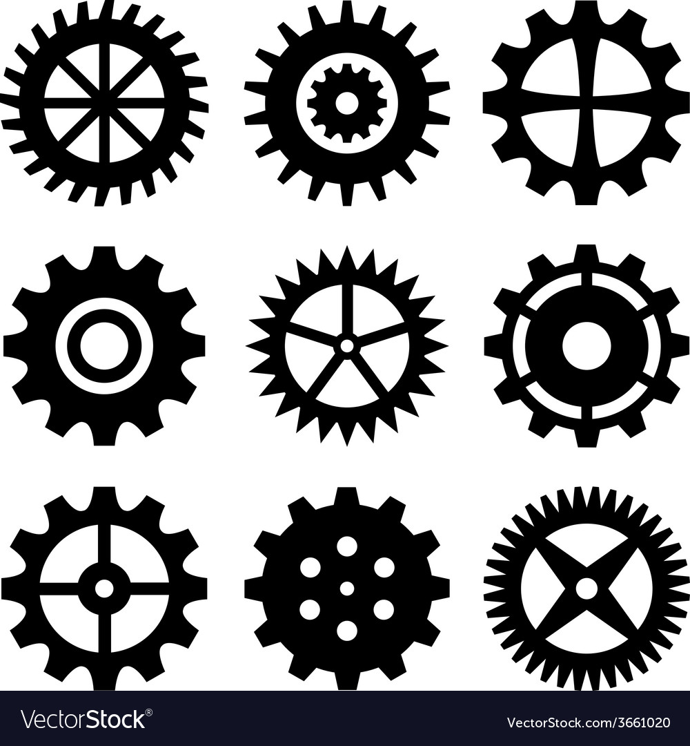 Gear wheels isolated on white background vector | Price: 1 Credit (USD $1)