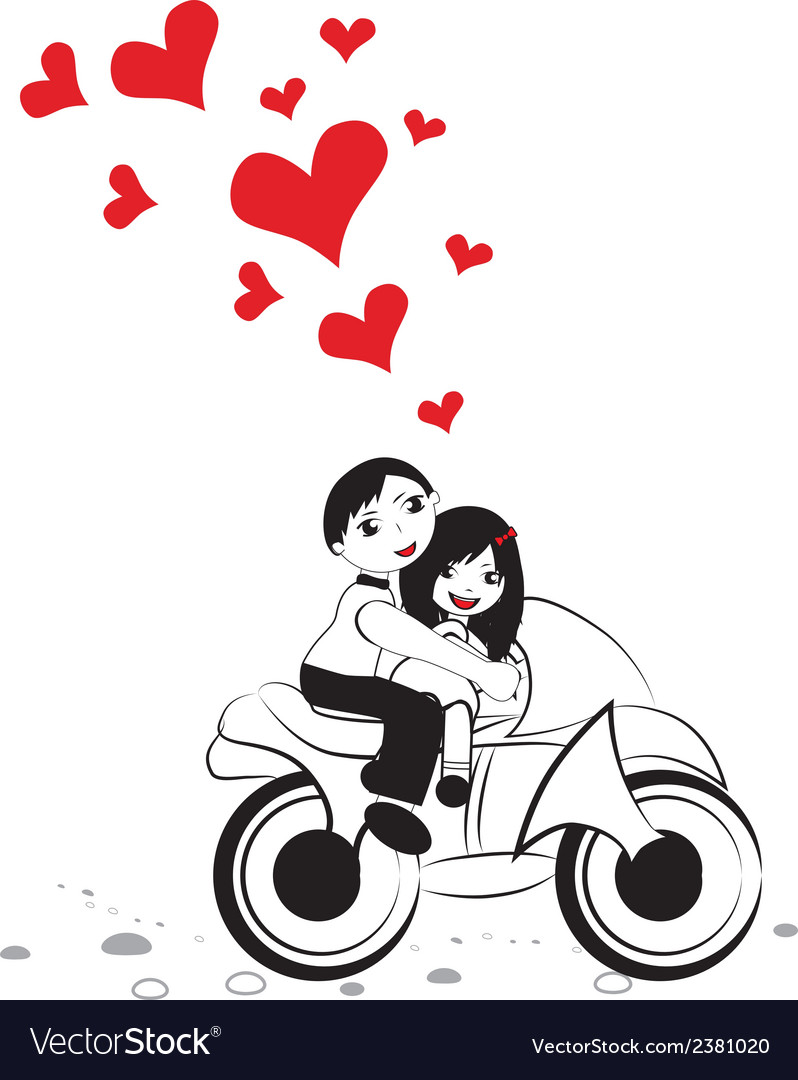 Happy man and woman in love on motorcycle vector | Price: 1 Credit (USD $1)