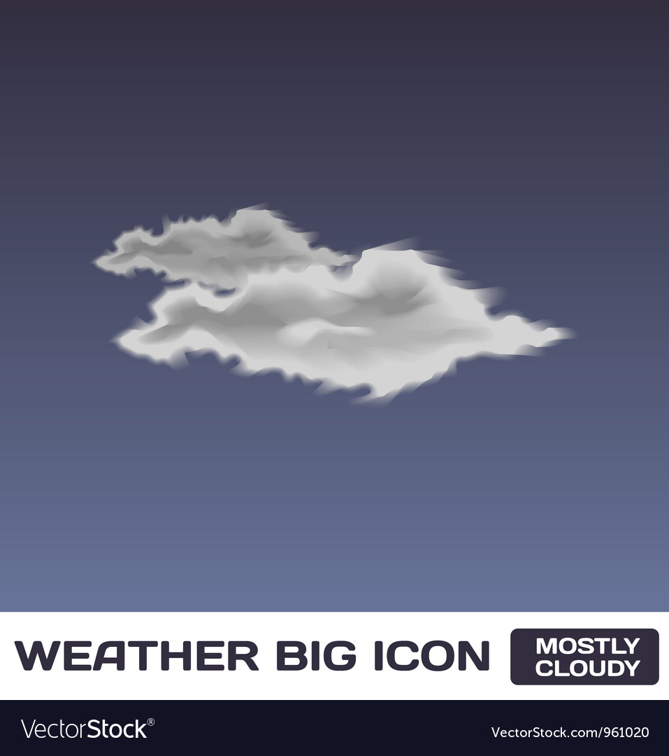 Mostly cloudy icon vector | Price: 1 Credit (USD $1)