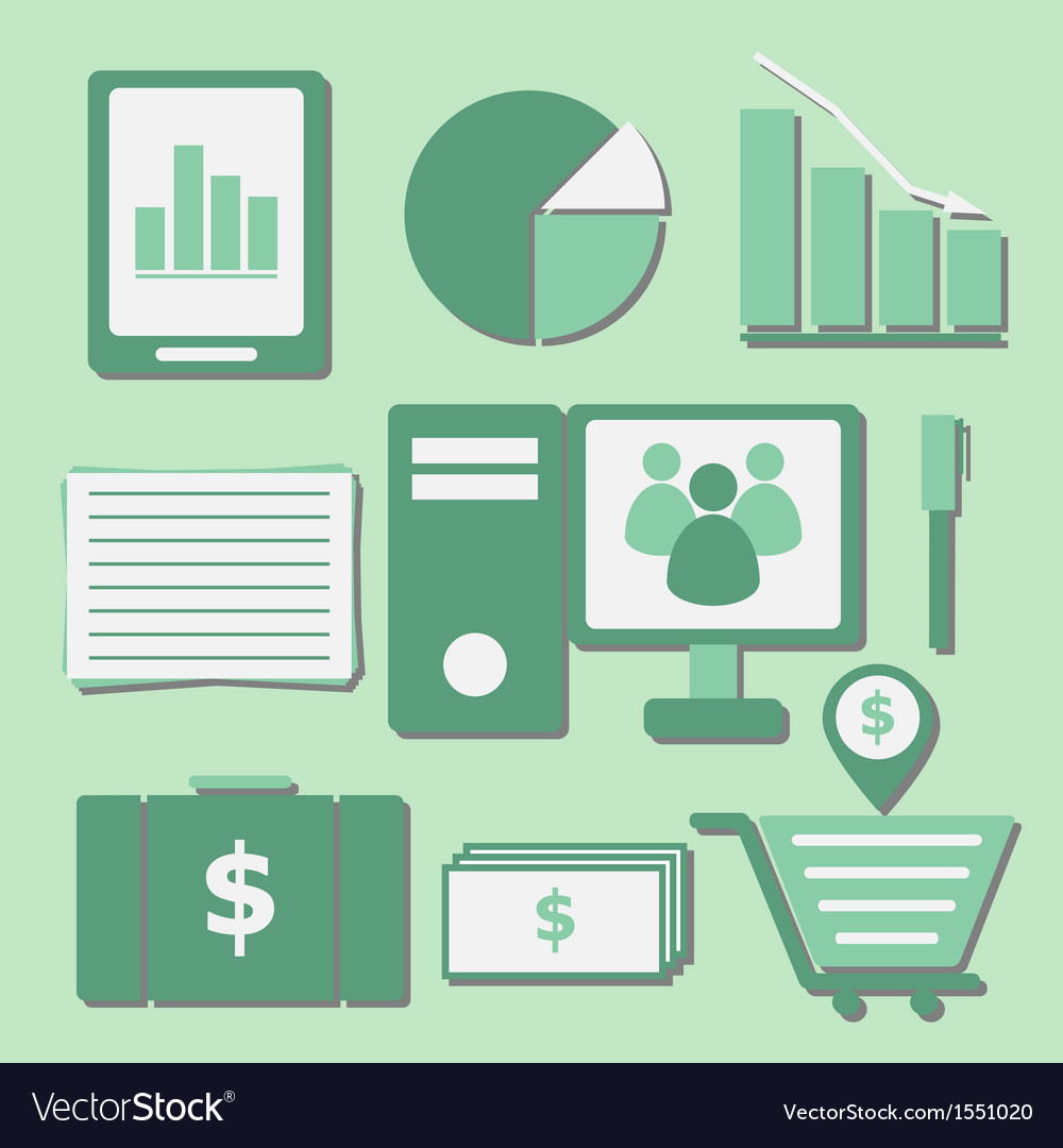 Set of internet investor at home color icons vector | Price: 1 Credit (USD $1)