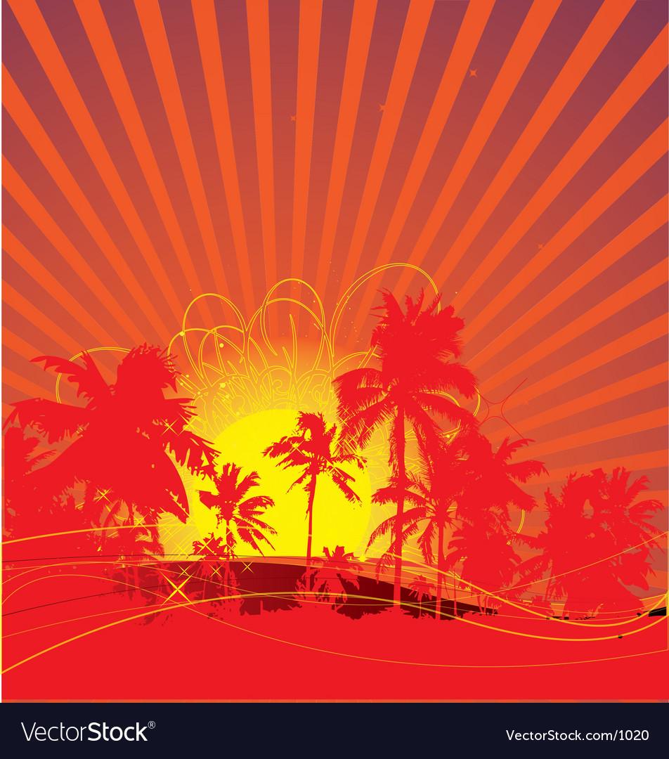 Tropical rising sun vector | Price: 1 Credit (USD $1)