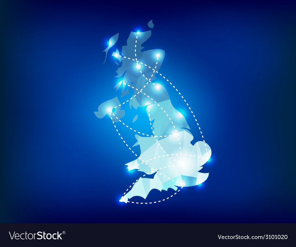 Uk country map polygonal with spot lights places vector | Price: 1 Credit (USD $1)