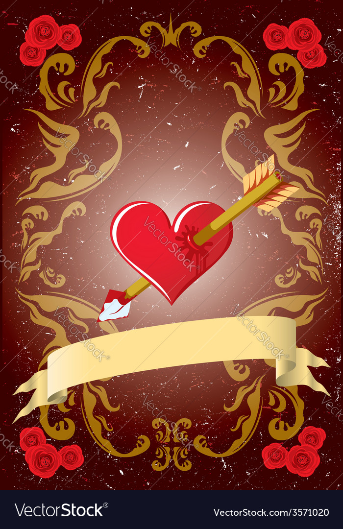 Vintage valentine card vector | Price: 1 Credit (USD $1)