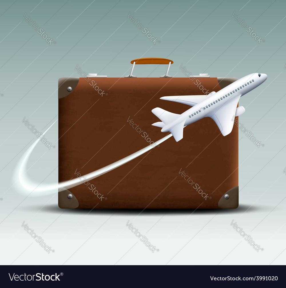 White plane flies around the brown suitcase vector | Price: 1 Credit (USD $1)