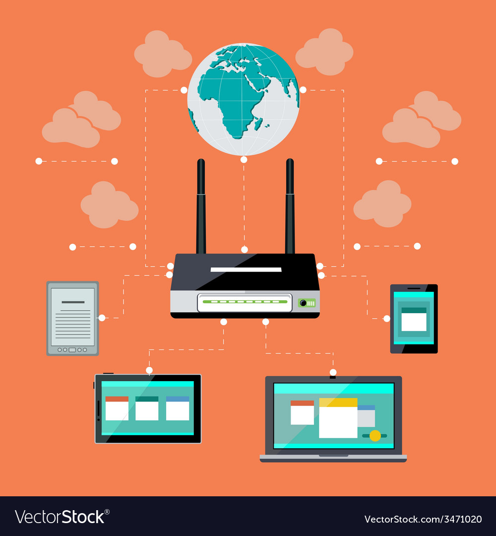 Wifi workstation with globe and router concept vector | Price: 1 Credit (USD $1)