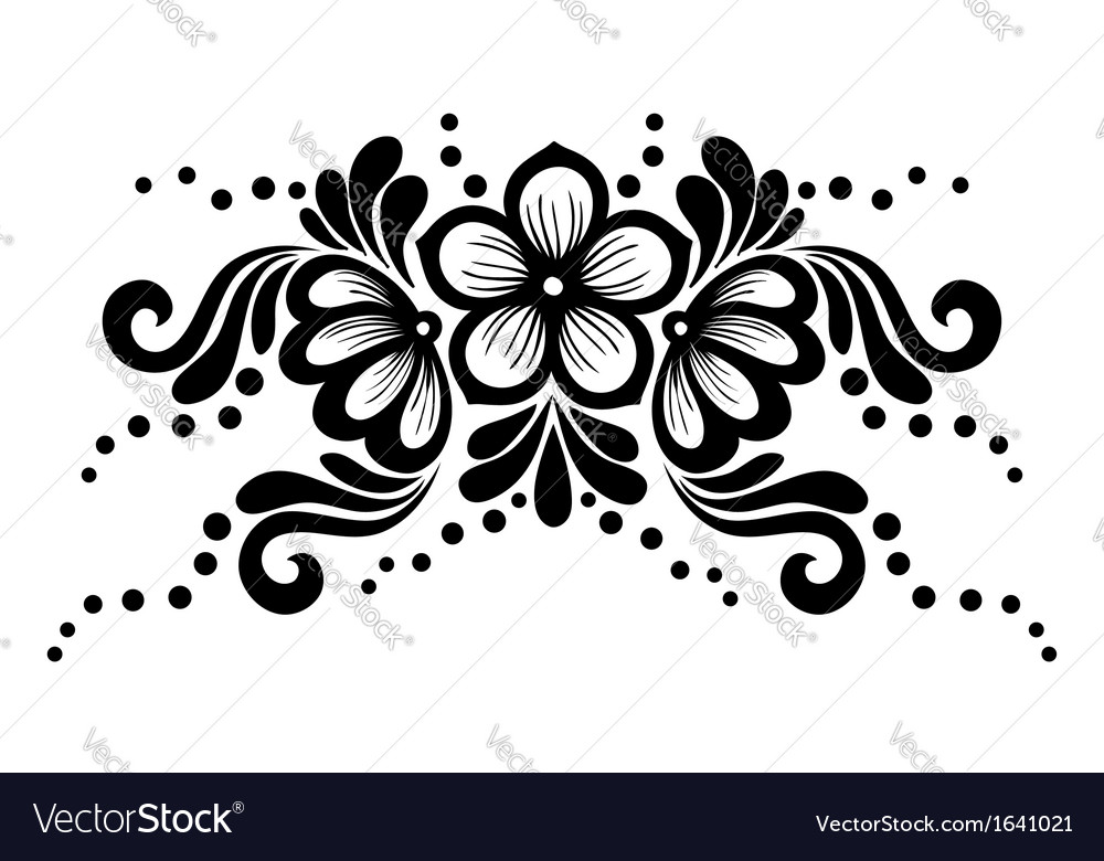 Black and white lace flowers and leaves isolated vector | Price: 1 Credit (USD $1)