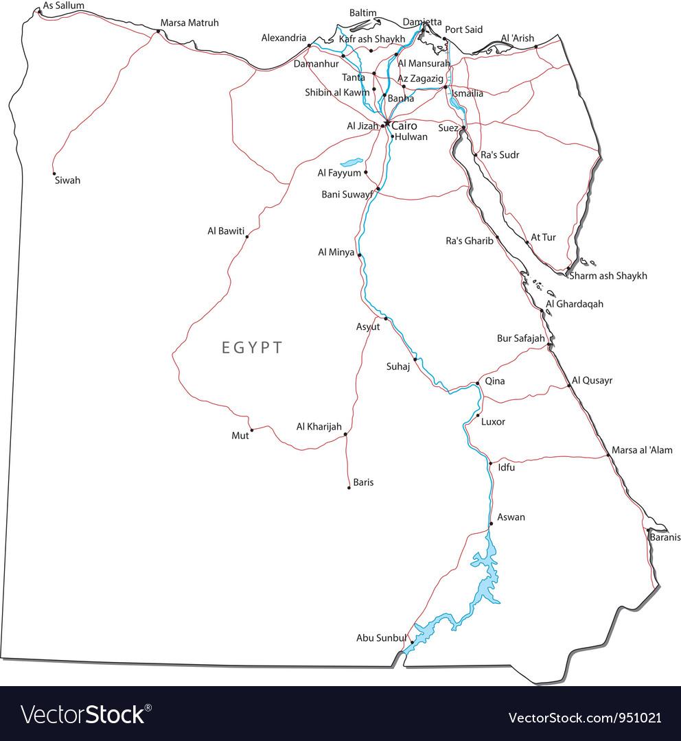 Egypt black white map vector | Price: 1 Credit (USD $1)