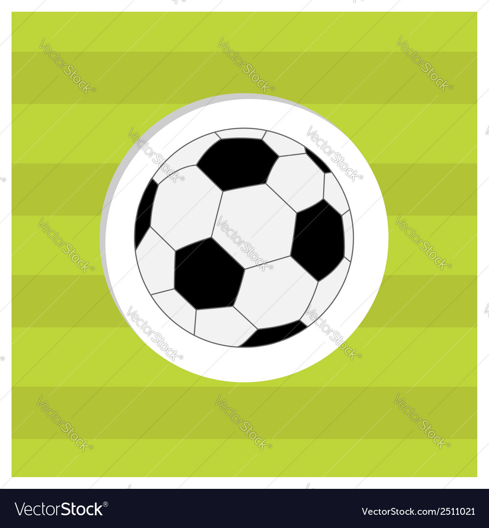 Football soccer ball icon on green grass field vector | Price: 1 Credit (USD $1)