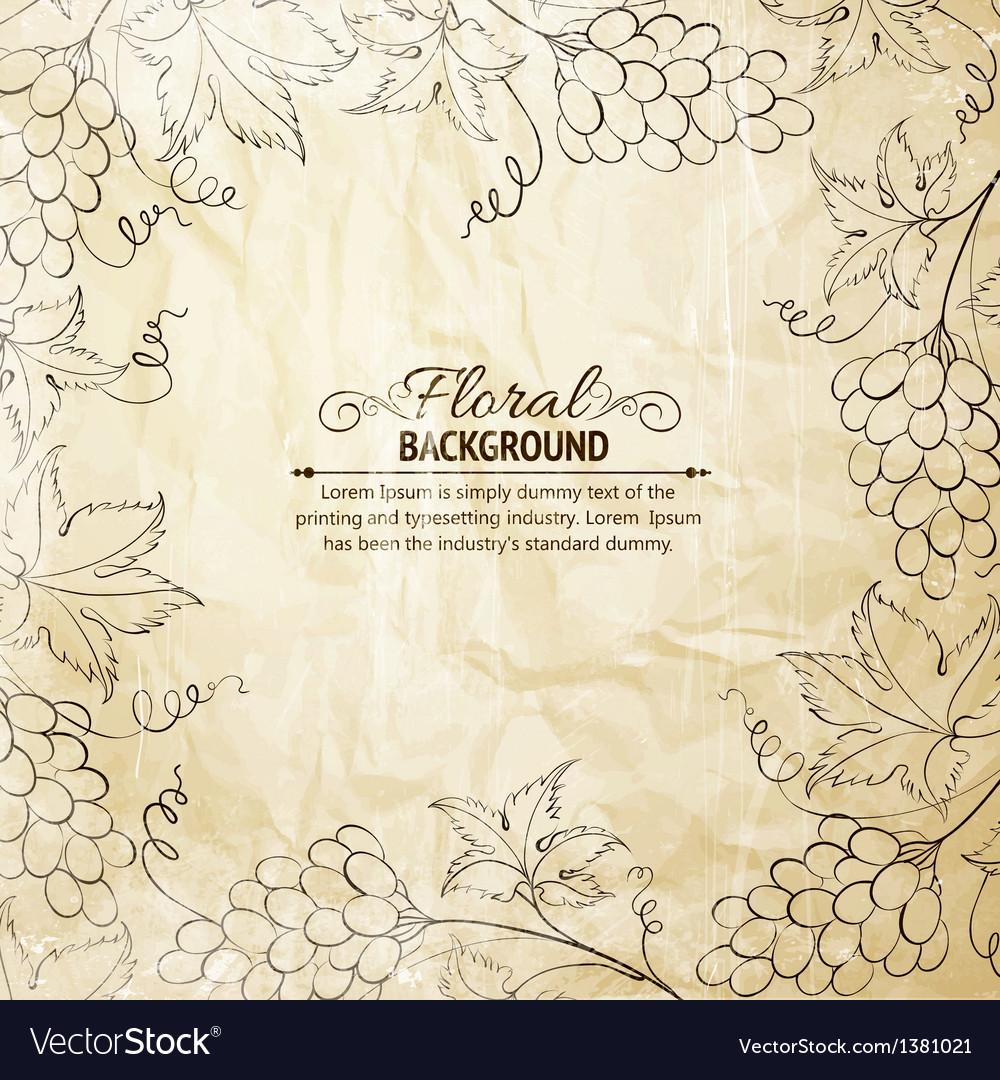Grapes frame over old paper vector | Price: 1 Credit (USD $1)