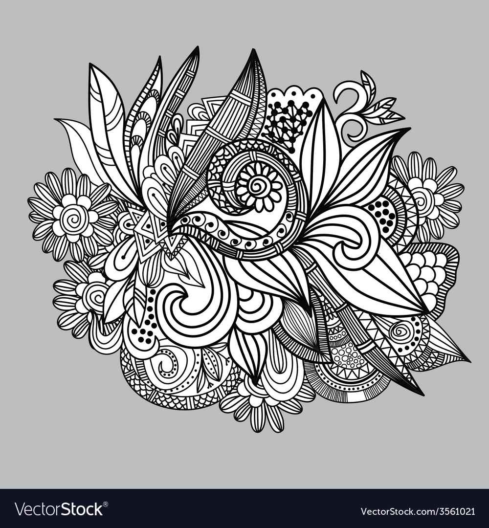 Handdrawn paisley pattern seamless background vector