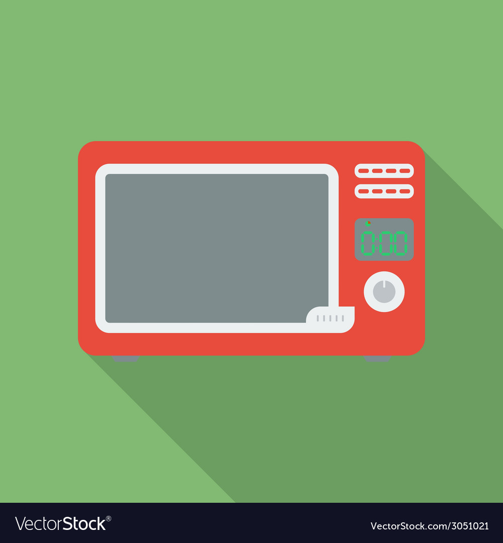 Microwave oven icon modern flat style with a long vector | Price: 1 Credit (USD $1)