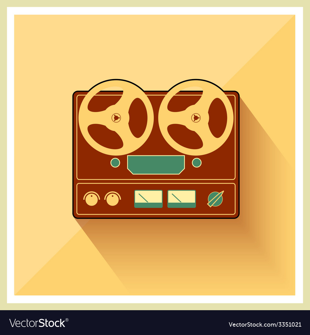 Open reel recorder on retro vintage background vector | Price: 1 Credit (USD $1)