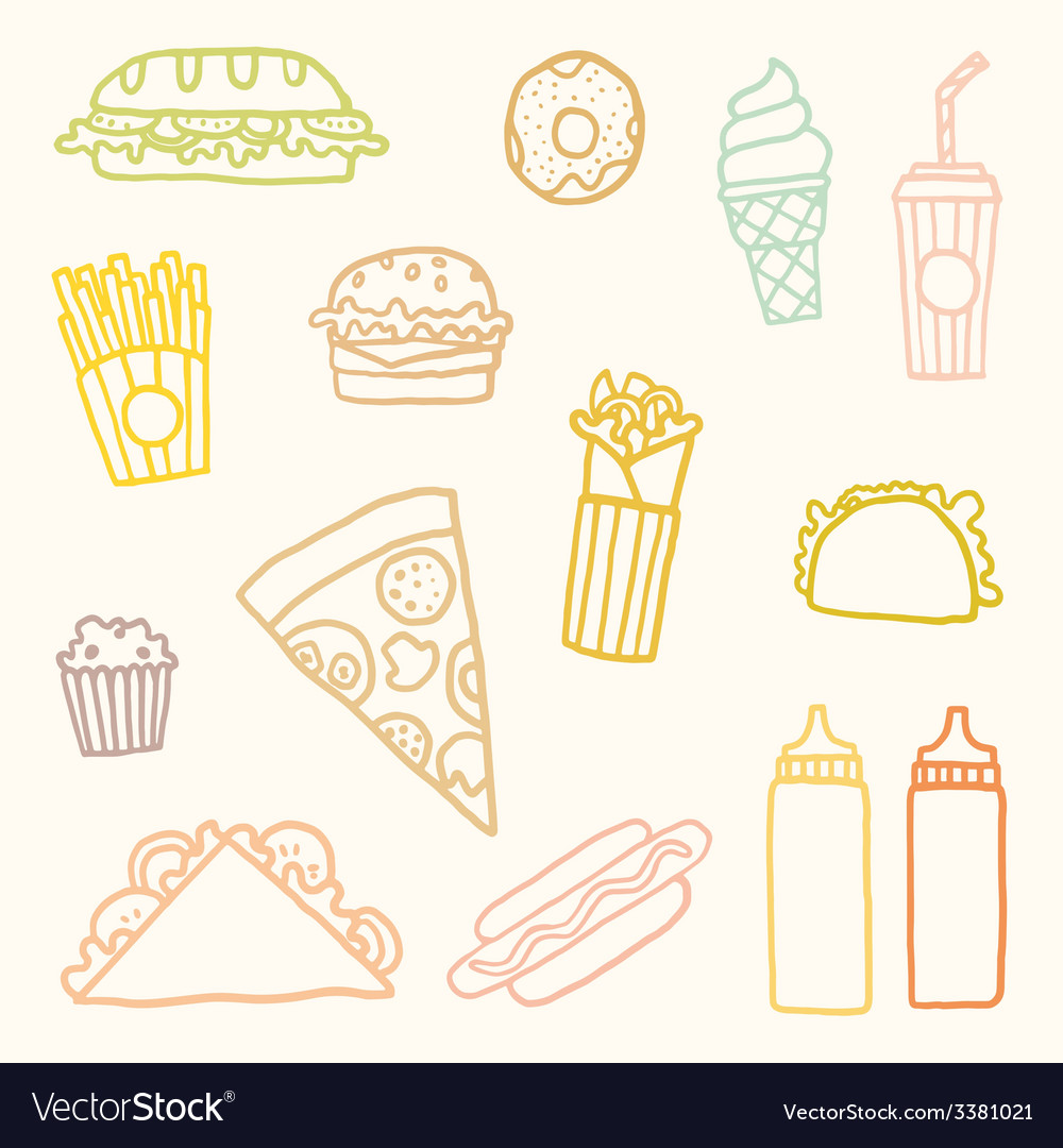 Outline astfood cartoon set vector | Price: 1 Credit (USD $1)