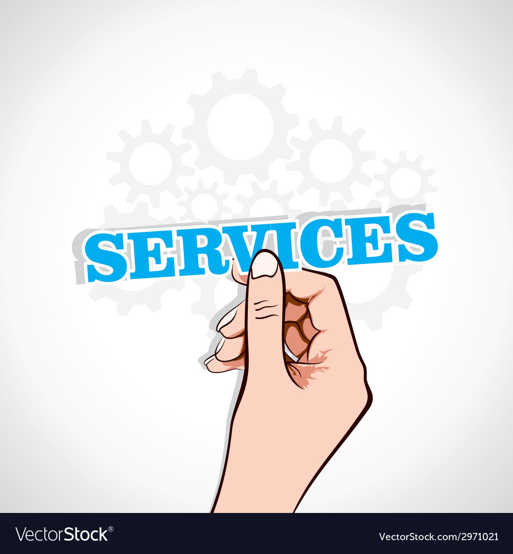 Services sticker in hand vector | Price: 1 Credit (USD $1)