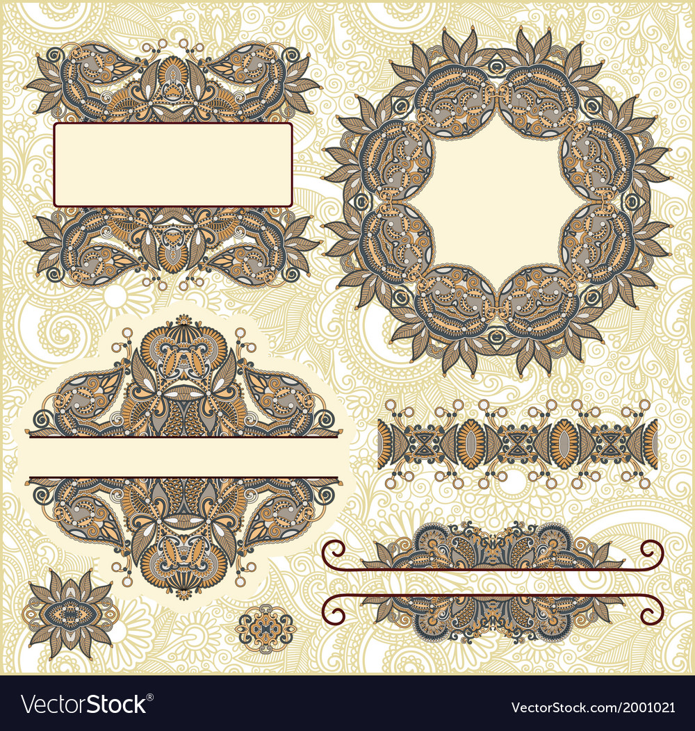 Set of vintage floral frame element for design vector | Price: 1 Credit (USD $1)