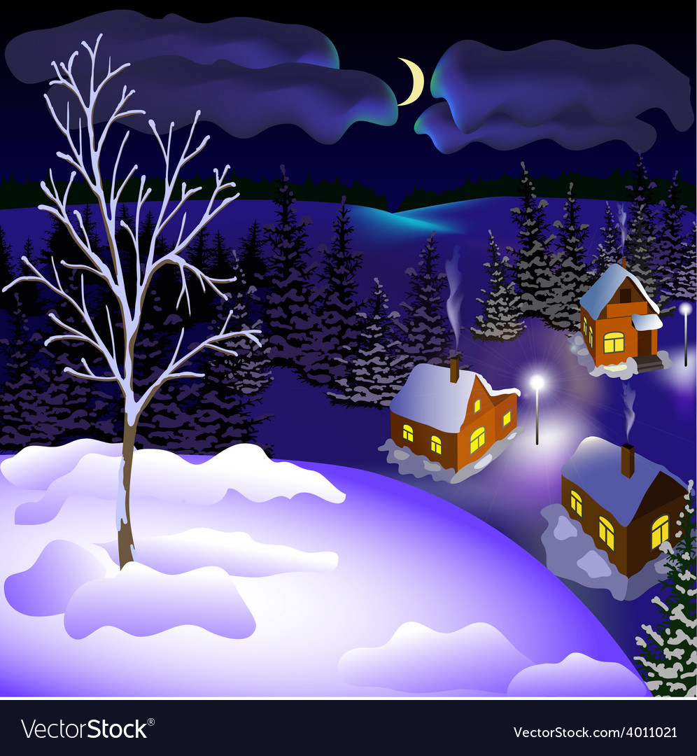 View of landscape of winter town at the night from vector | Price: 1 Credit (USD $1)