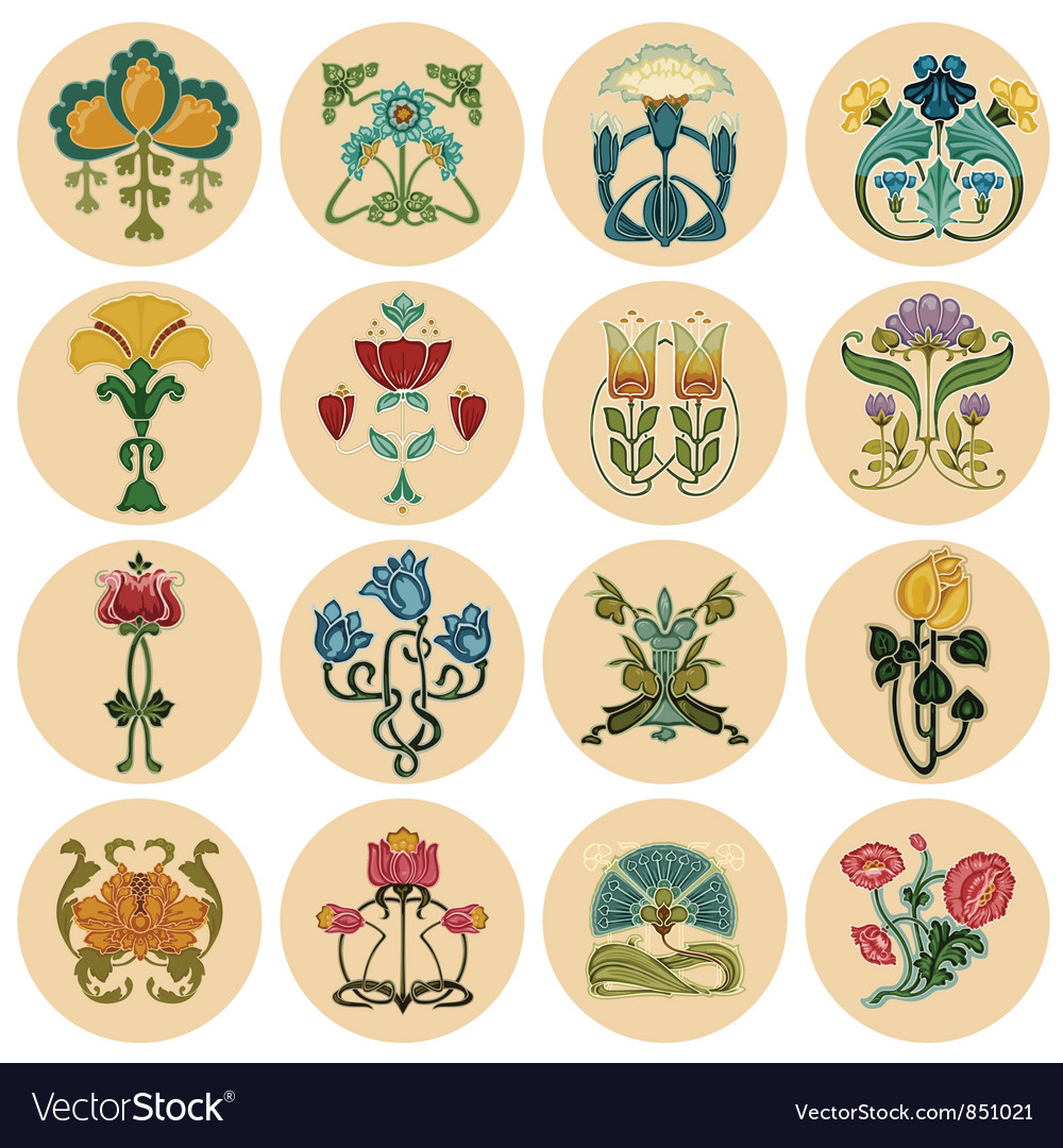 Vintage flowers label set vector | Price: 1 Credit (USD $1)