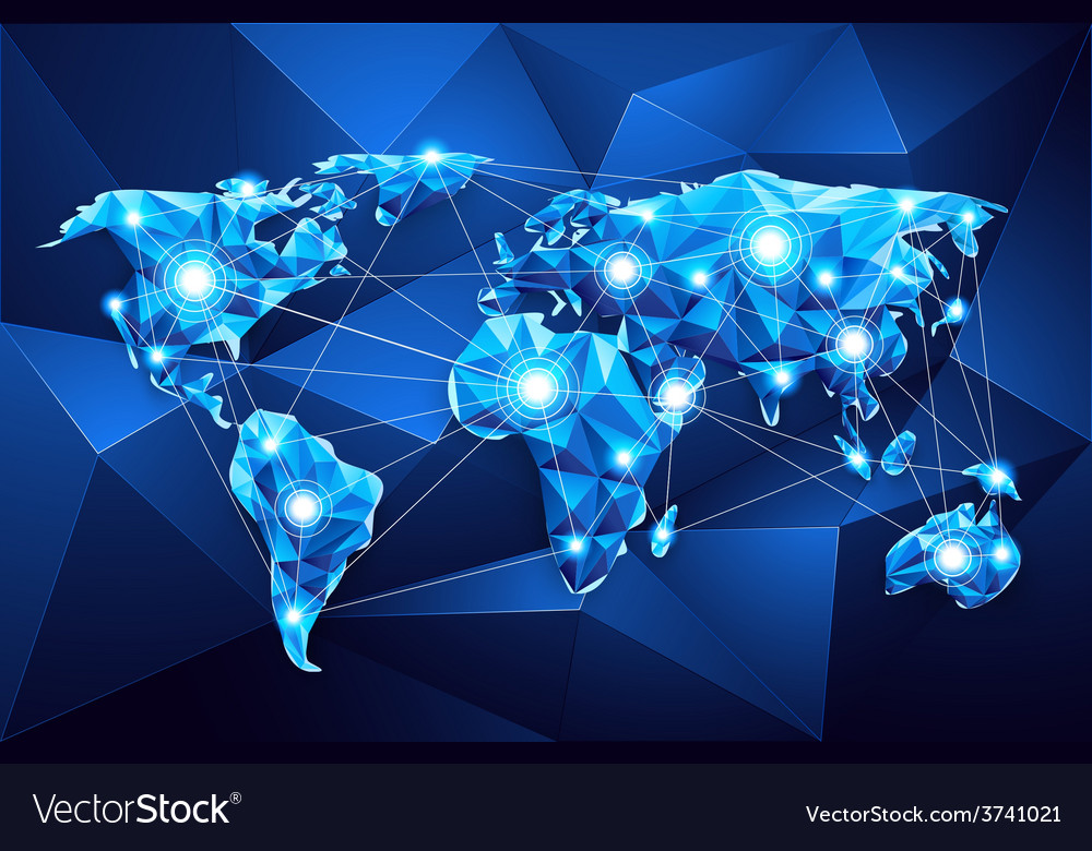 World map global network vector | Price: 1 Credit (USD $1)