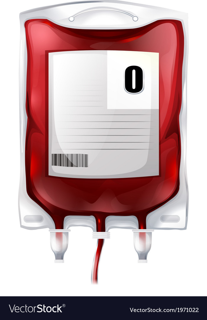 A blood bag with type o blood vector
