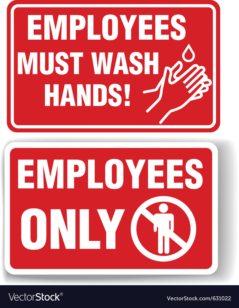 Employees only and employees must wash hands signs vector | Price: 1 Credit (USD $1)
