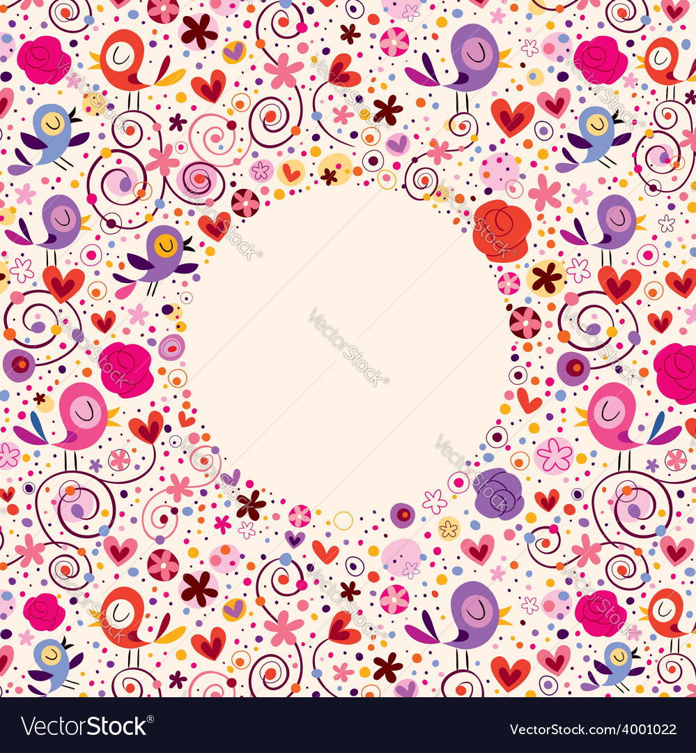 Flowers hearts birds love nature circle frame vector | Price: 1 Credit (USD $1)