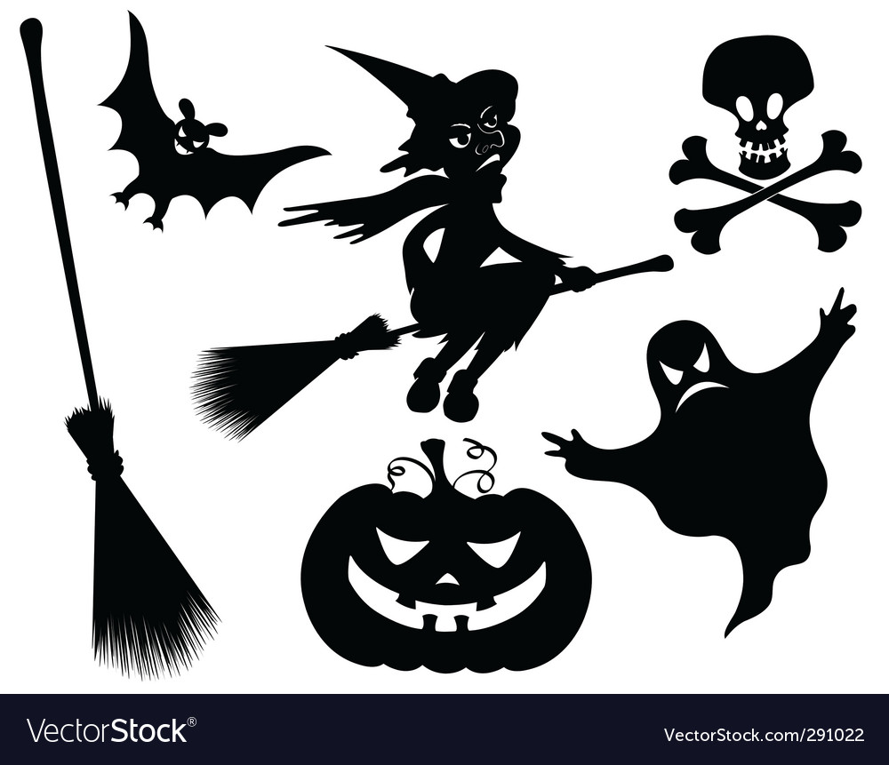 Halloween silhouettes vector | Price: 1 Credit (USD $1)