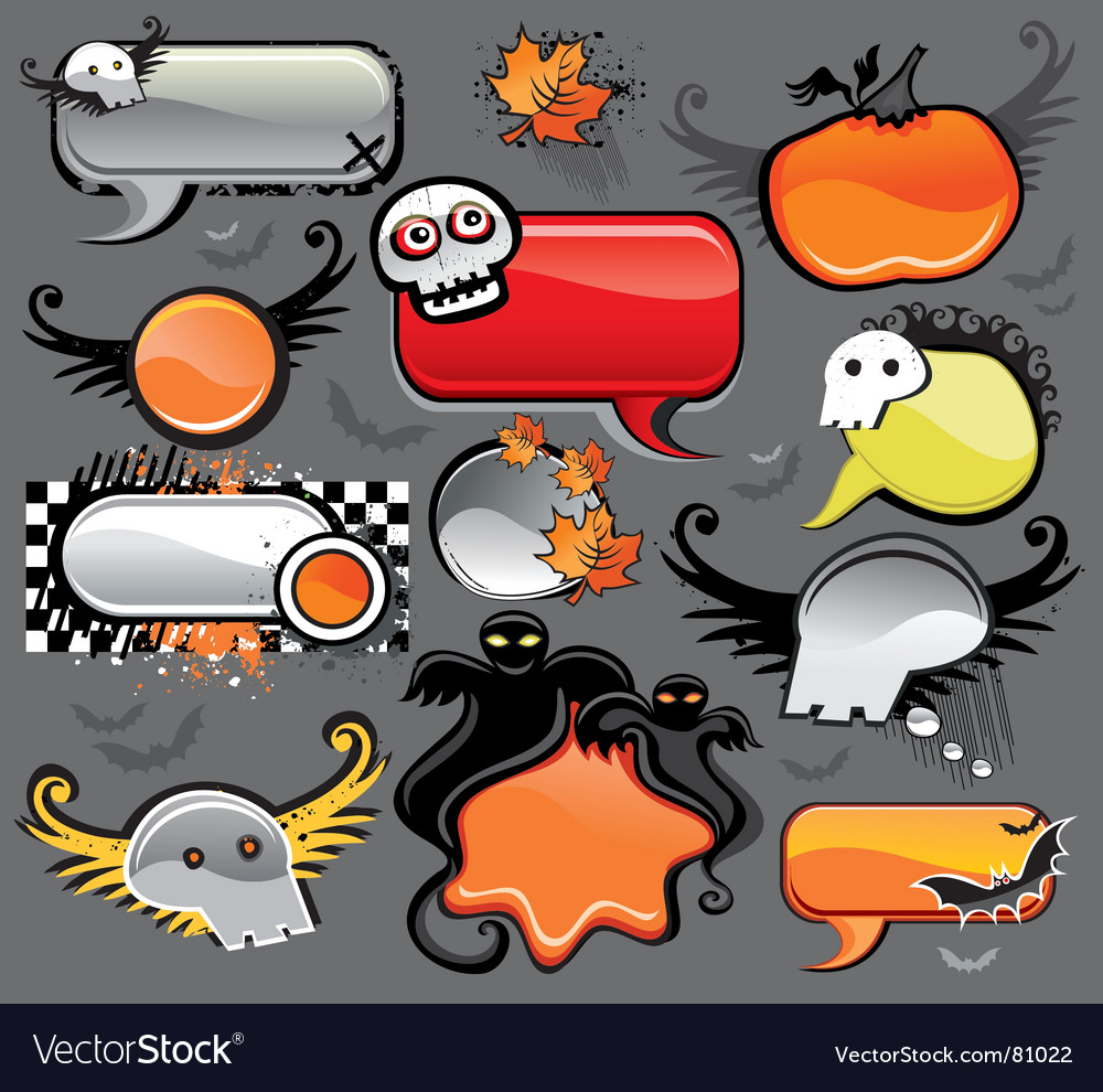 Halloween speech bubbles vector | Price: 1 Credit (USD $1)