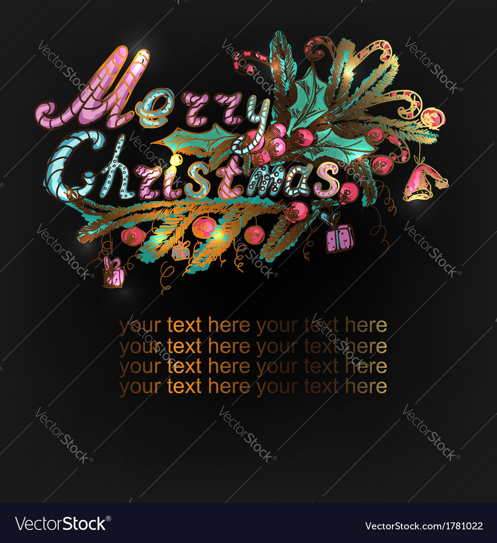 Hand-drawn christmas banner vector | Price: 1 Credit (USD $1)