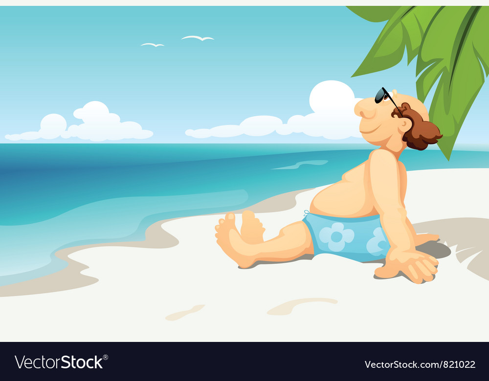 Man on beach vector | Price: 3 Credit (USD $3)