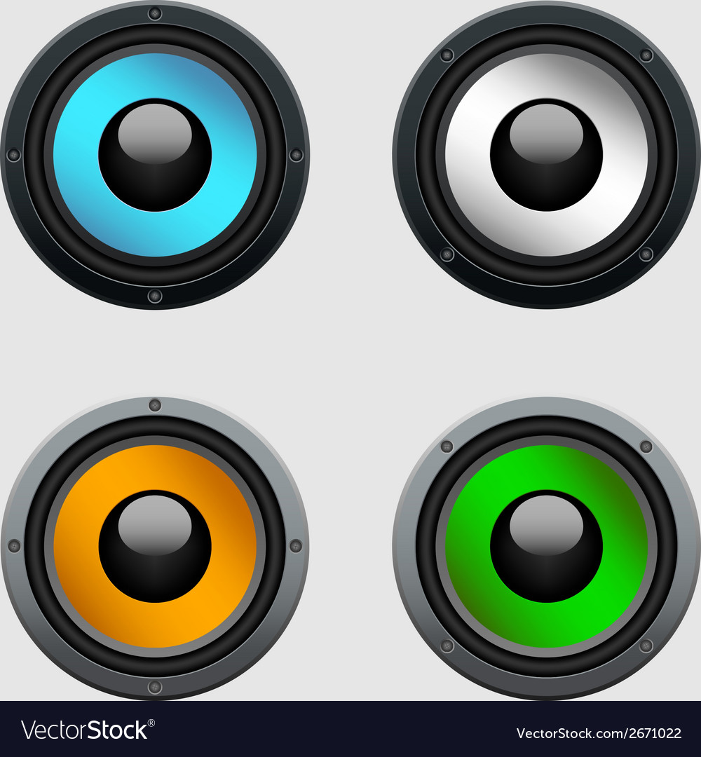 Set of four colorful shiny speakers vector | Price: 1 Credit (USD $1)