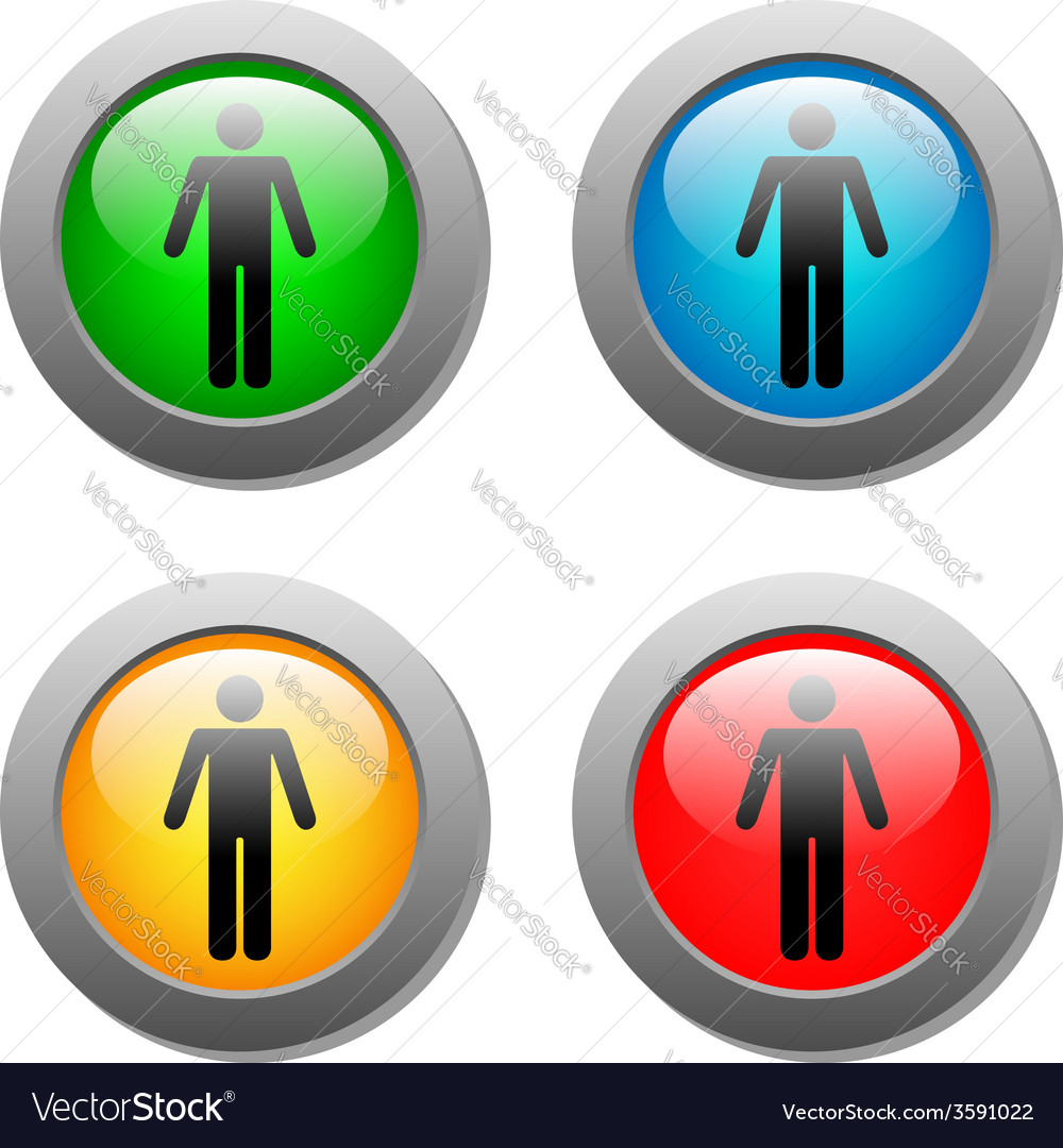 Standing human icon set on glass buttons vector | Price: 1 Credit (USD $1)