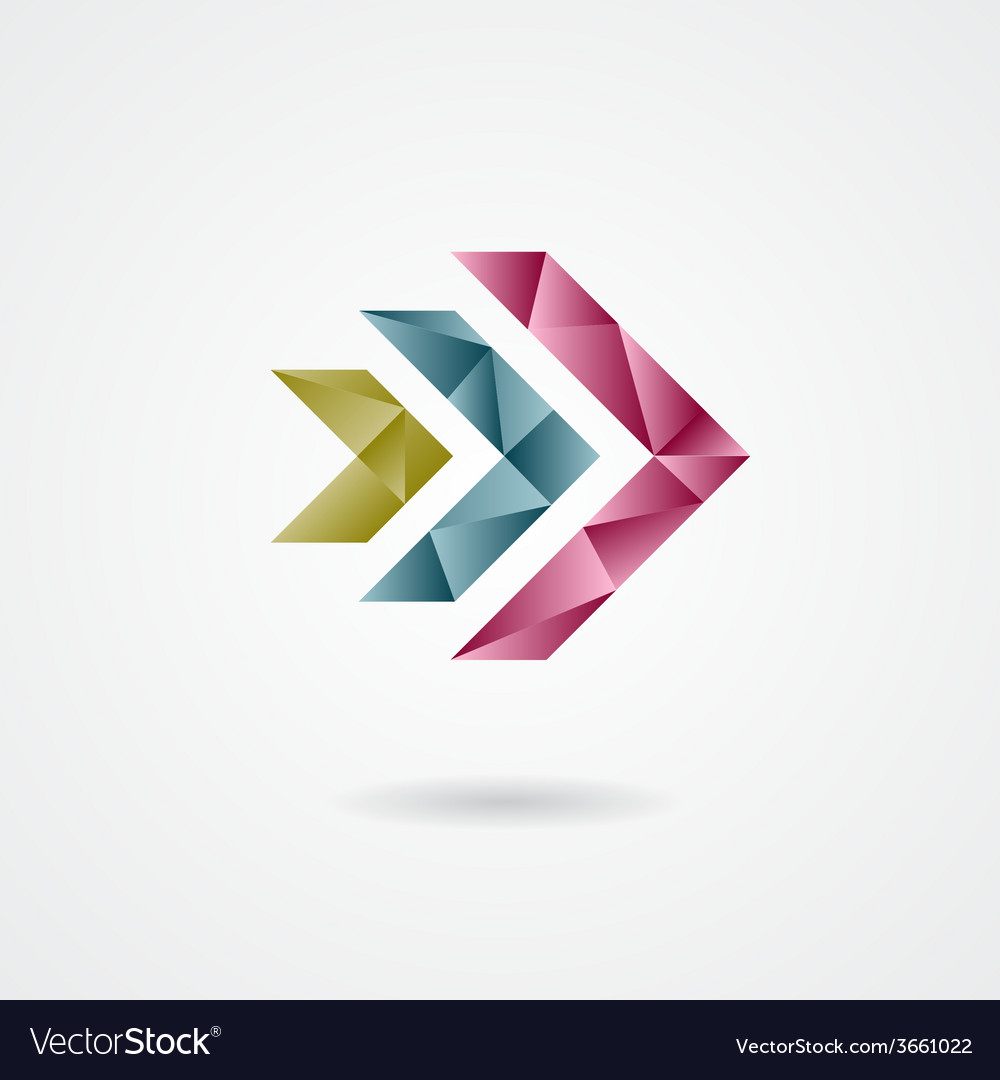 Triangle style arrow sign on a white background vector   Price: 1 Credit (USD $1)