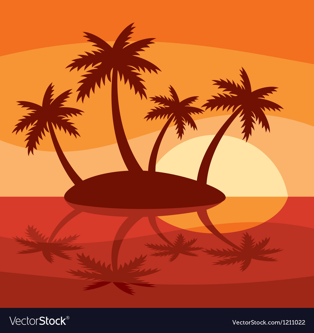 Tropical island with four palms vector | Price: 1 Credit (USD $1)