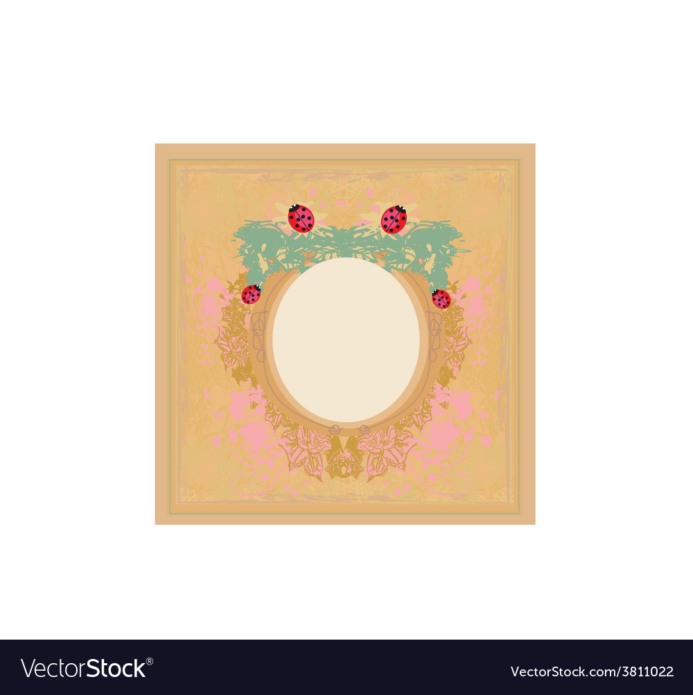 Vintage design with ladybugs and flowers vector | Price: 1 Credit (USD $1)