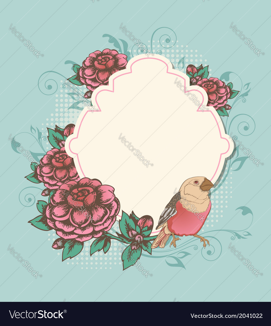 Vintage label with pink roses and bird vector | Price: 1 Credit (USD $1)